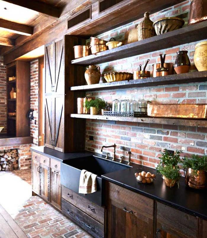Open Wood Shelving #rustic #kitchencabinet #decorhomeideas