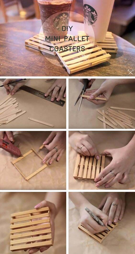 Popsicle Stick Pallet Coasters Craft #diy #weekendproject #decorhomeideas