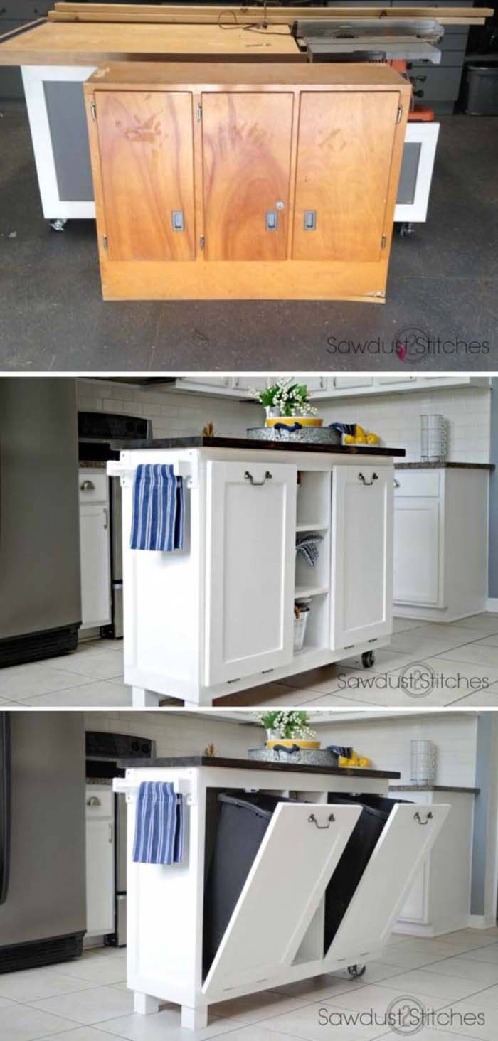 Pull-Out Drawers are Super Space Savers #diy #ktichenisland #decorhomeideas