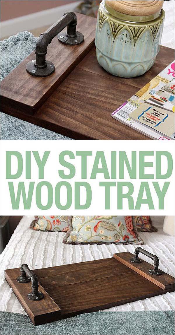 Reclaimed Wood Steampunk Serving Tray #diy #weekendproject #decorhomeideas