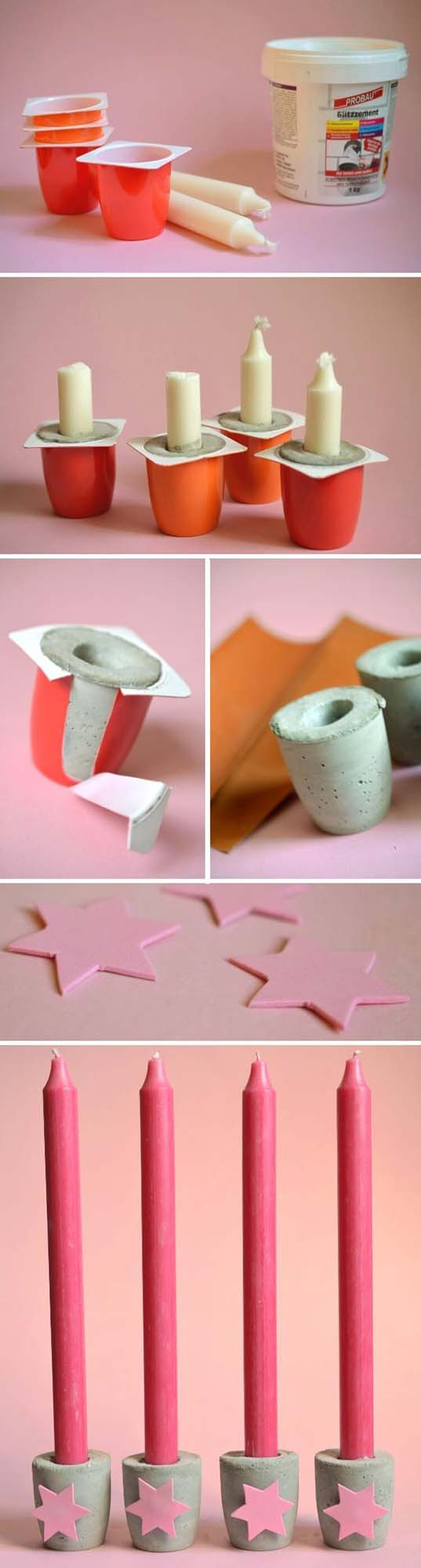 Recycled Pudding Cup Candleholder Craft #diy #weekendproject #decorhomeideas