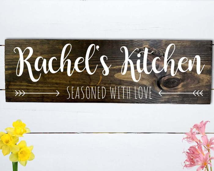Rustic and Seasoned with Love Kitchen Sign #walldecor #kitchen #decorhomeideas