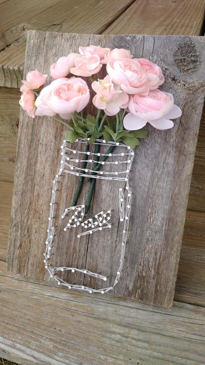 Rustic Mason Jar String Art Floral Display #spring #decor #decorhomeideas