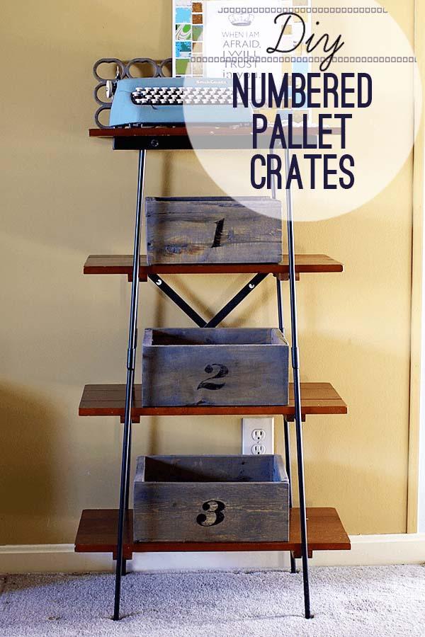 Rustic Numbered Pallet Organizer Crates #rustic #storage #organization #decorhomeideas