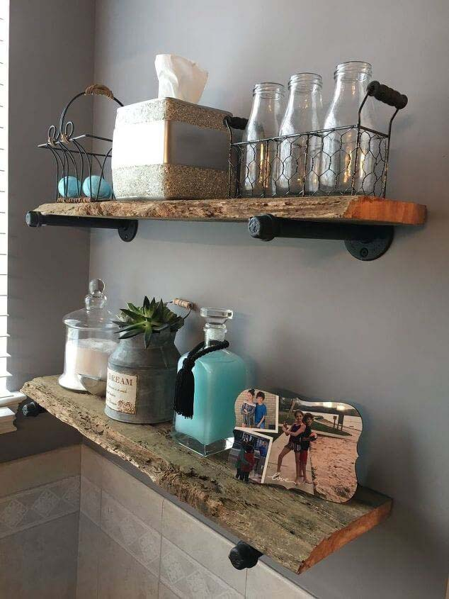 Rustic Wooden Shelves Made from Upcycled Wood #rustic #storage #organization #decorhomeideas