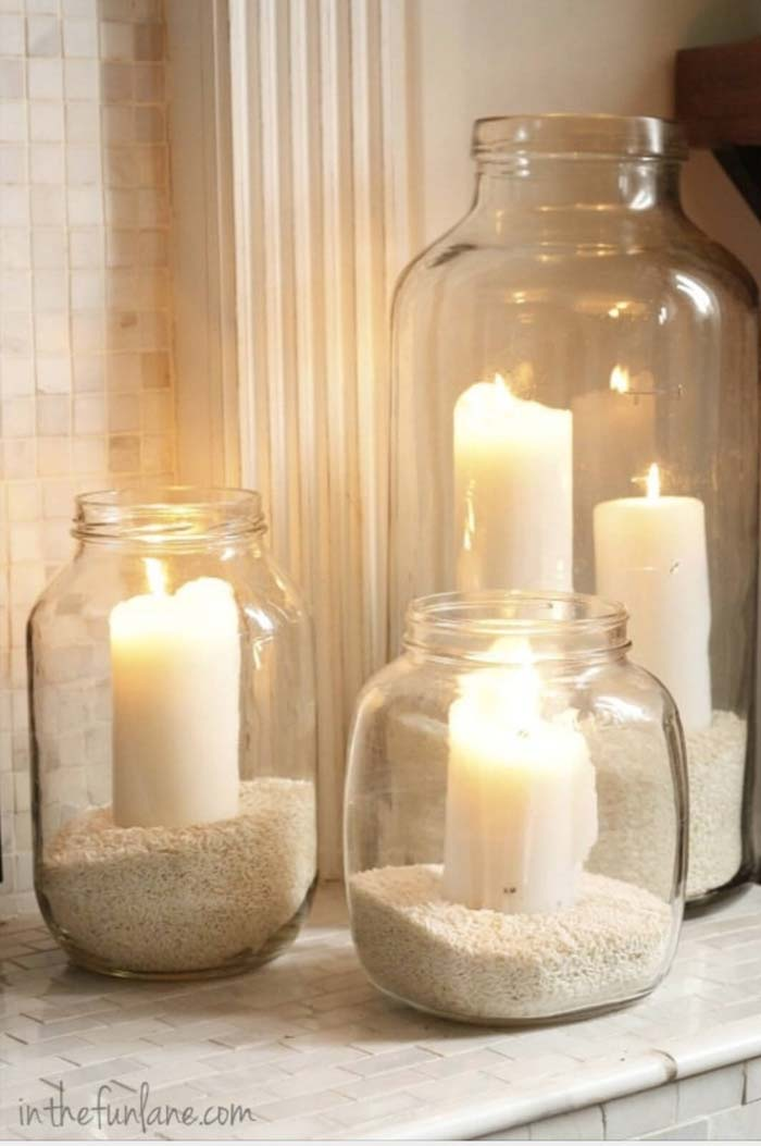 Sand-filled Jars Make Perfect Candle Holders #lighting #yard #outdoor #decorhomeideas