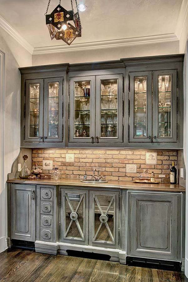 Shades of Slate Gray Cabinets #rustic #kitchencabinet #decorhomeideas