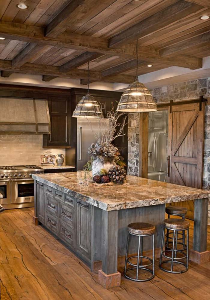Sierra Escape Rustic Wood & Stone Kitchen #rustic #kitchencabinet #decorhomeideas