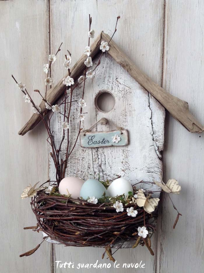 Simple and Sweet Bird's Nest Easter Display #spring #decor #decorhomeideas