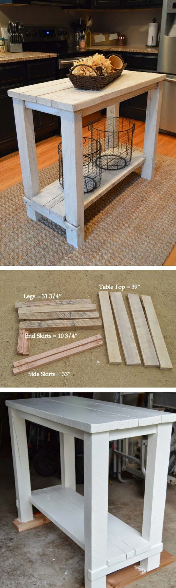 Small Kitchen Island is Rustic and Simple to Make #diy #ktichenisland #decorhomeideas