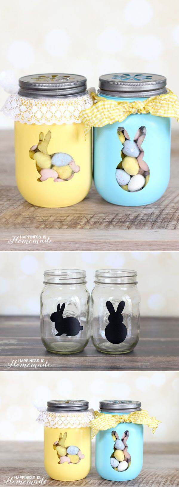 Stencil Some Adorable Rabbit Mason Jar Favors #spring #decor #decorhomeideas