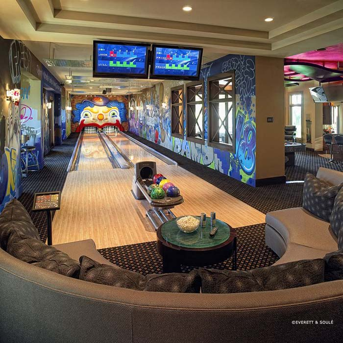 The Bowling Alley Room #mancave #decorhomeideas