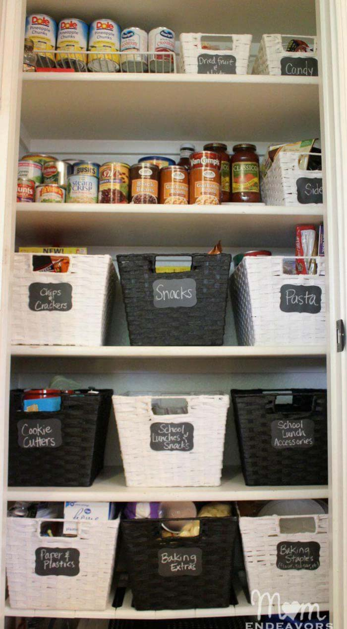 Tuxedo-Look Kitchen Pantry Ideas #pantry #shelves #decorhomeideas