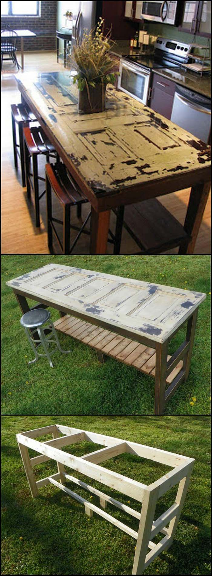 Upcycled Door Doubles as Eating and Workspace #diy #ktichenisland #decorhomeideas