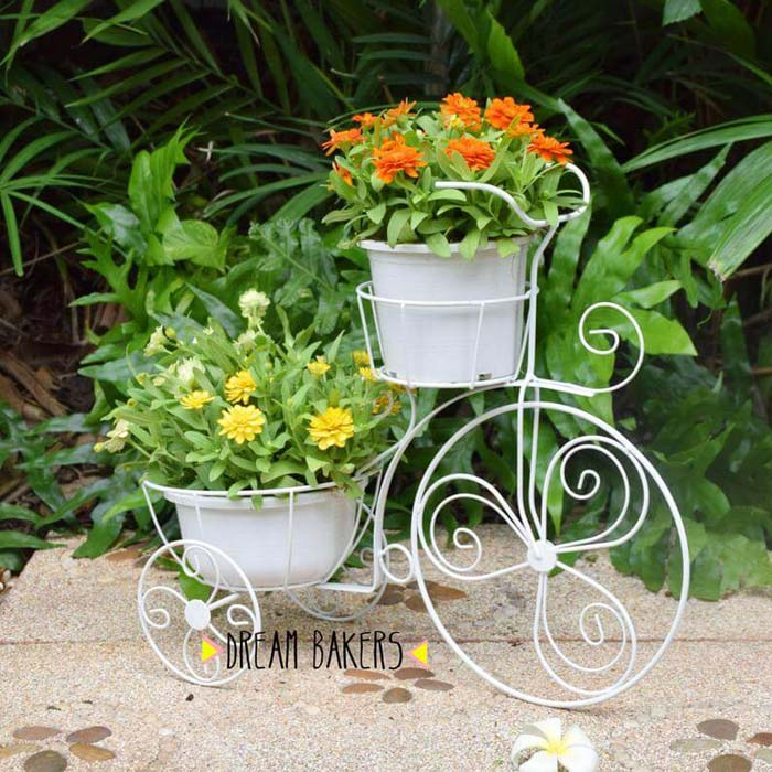 Vintage Tricycle Wrought Iron Plant Stand #spring #planter #decorhomeideas