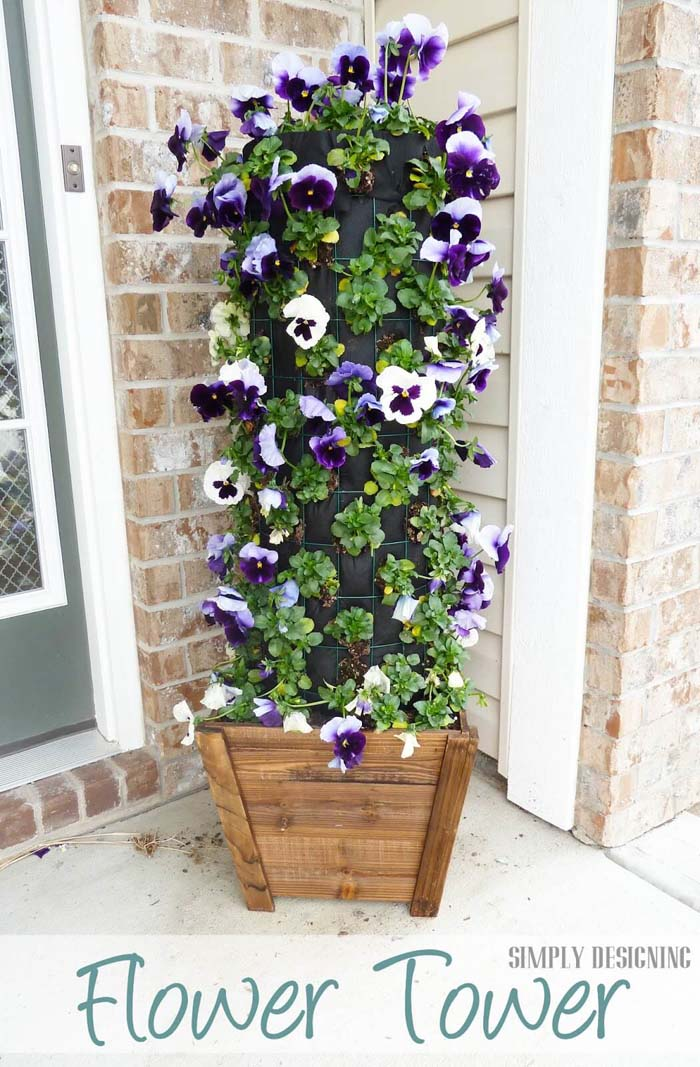 Welcome Your Guests with a Cute Flower Tower #spring #garden #decorhomeideas