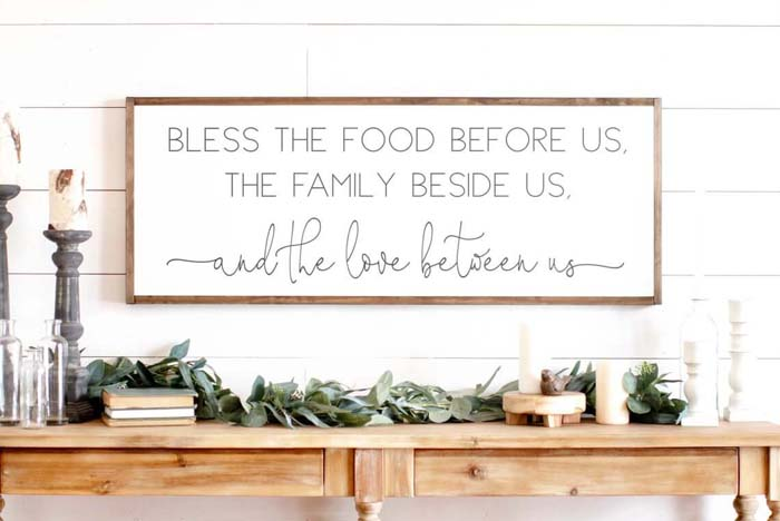 White and Wood Meal Time Blessings Sign #walldecor #kitchen #decorhomeideas