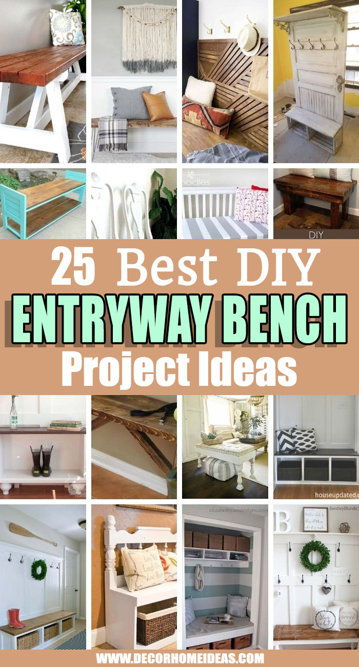 Best DIY Entryway Bench Project Ideas. If you would like to keep your entryway neat and tidy these DIY entryway bench projects will help you create a perfect decluttered place and add charm to it. #decorhomeideas