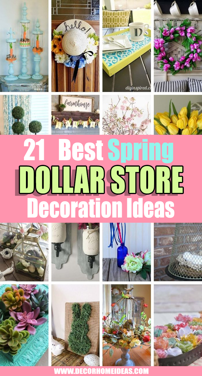 Best Dollar Store Spring Decor Ideas. Brighten up your home for less with these Dollar Store DIY Spring Decor ideas. From wreaths to centerpieces, there are plenty of decorations to choose from #decorhomeideas