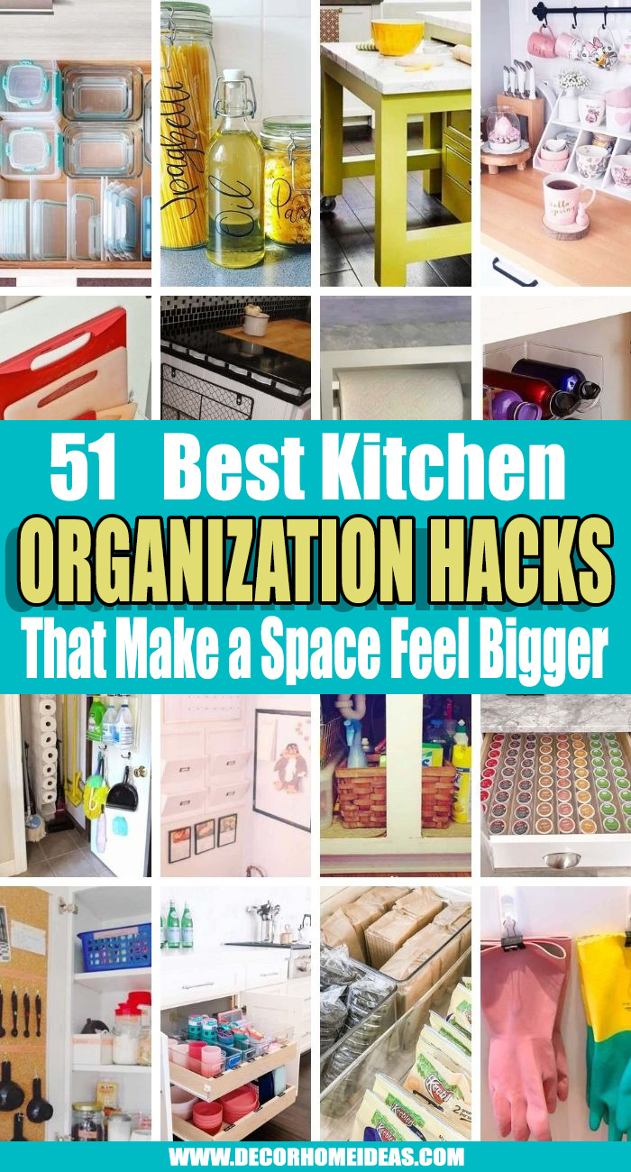 Best Kitchen Organization Hacks. We've collected the best ideas and hacks for kitchen organization that will make it easier to find the colander, plus will help with flow and order. #decorhomeideas