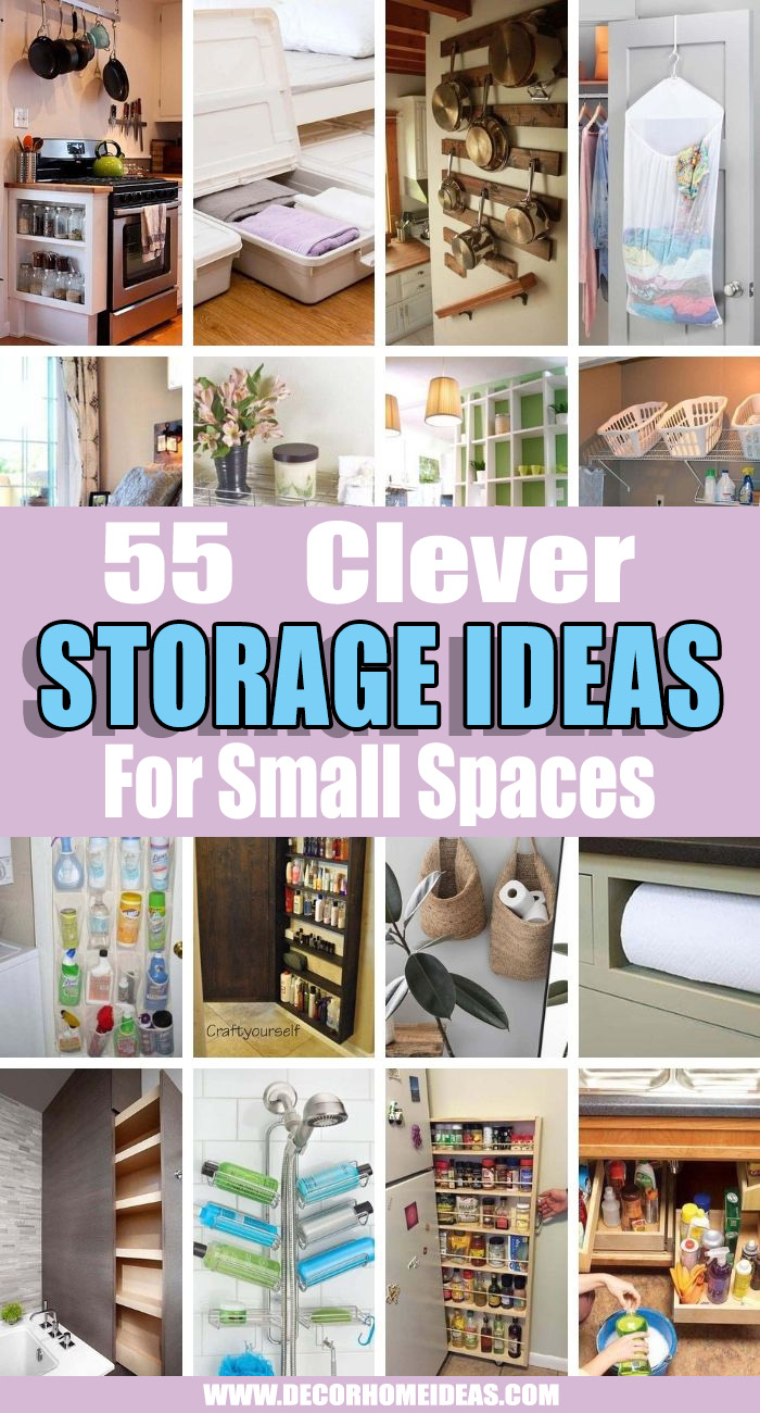 Best Storage Ideas For Small Spaces. Even the tiniest living place has room for an optimization and we'll show you how to organize your home with creative storage ideas for small spaces. #decorhomeideas
