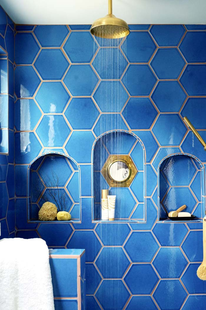 Blue Hexagon Tiled Shower With Storage #showertile #bathroom #decorhomeideas