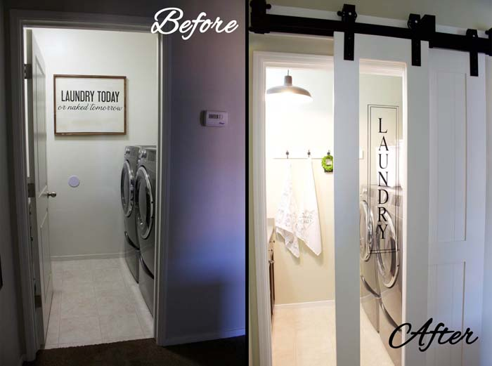 Boutique Flair with Glass Doors #laundryroom #makeover #decorhomeideas