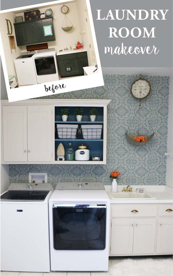 Brightened Up and Modified #laundryroom #makeover #decorhomeideas