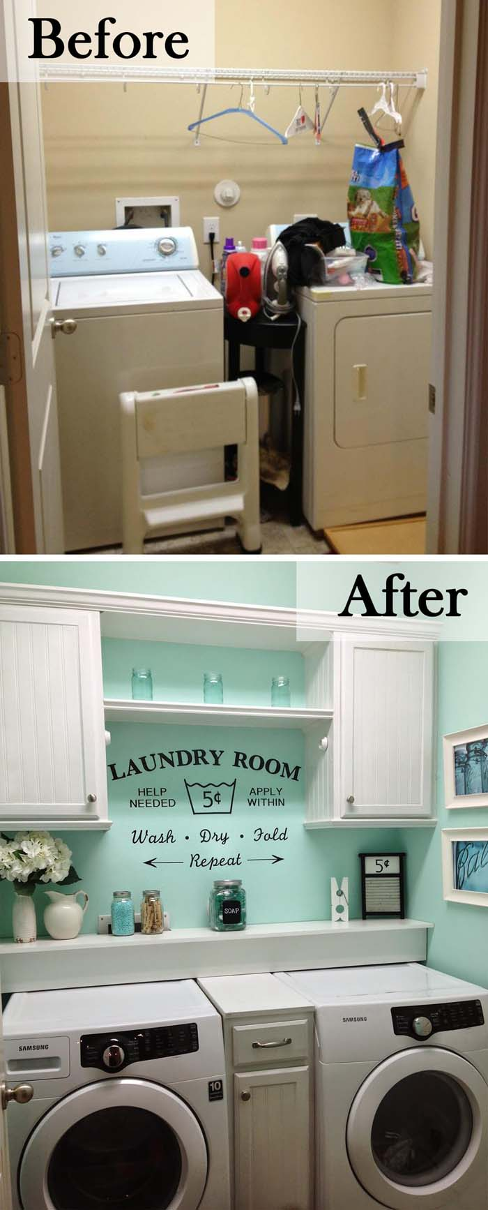 Cabinets and a Pretty Splash of Color #laundryroom #makeover #decorhomeideas