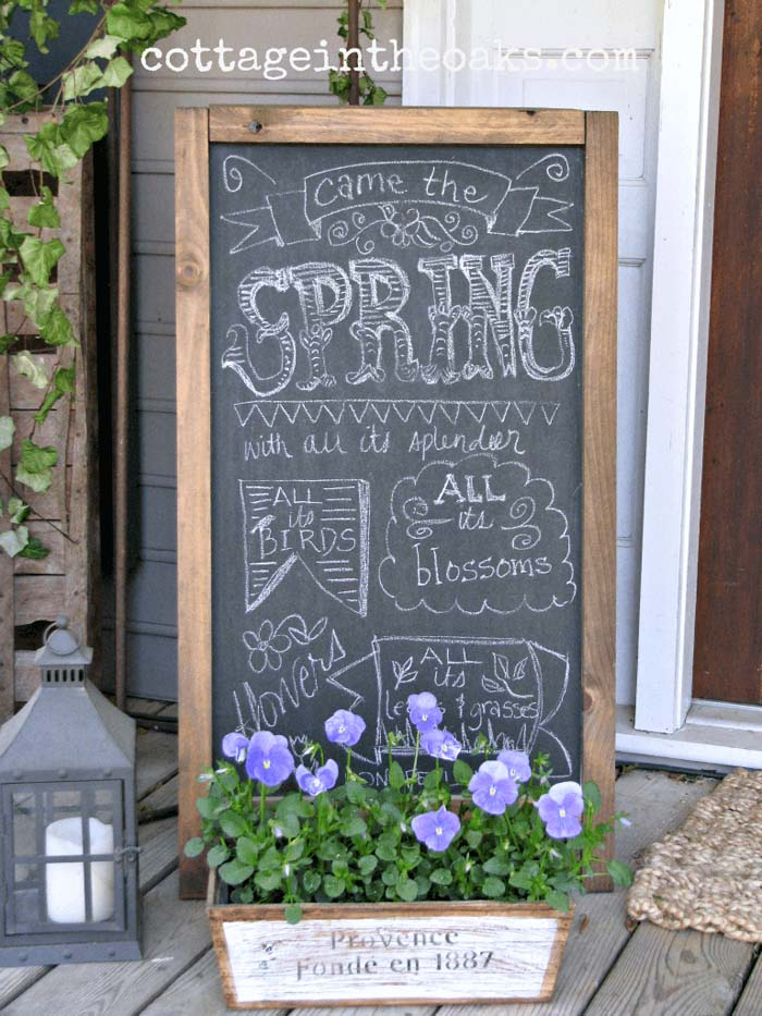 Chalkboard With Wooden Planter and Decorative Lantern #rustic #springdecor #porch #decorhomeideas