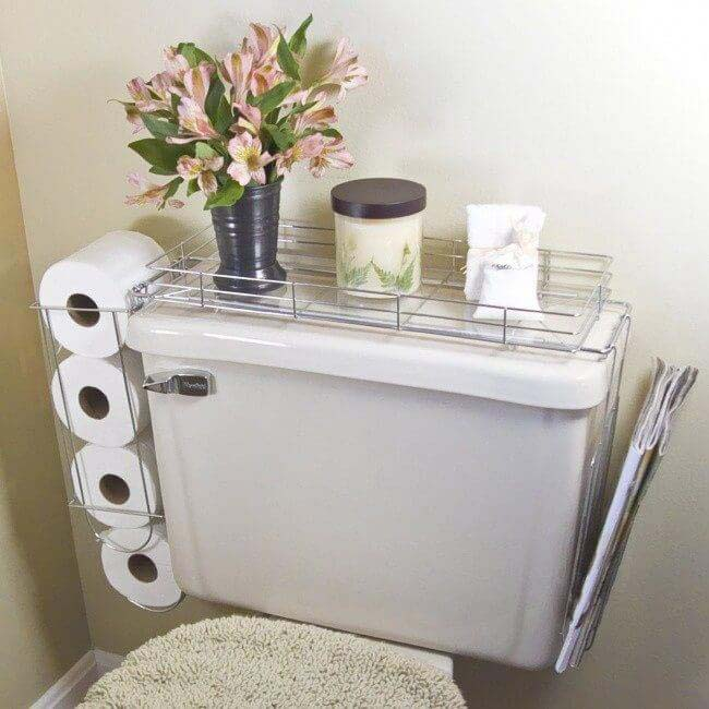 Commode Shelf Keeps the Necessities Close By #storage #organization #decorhomeideas