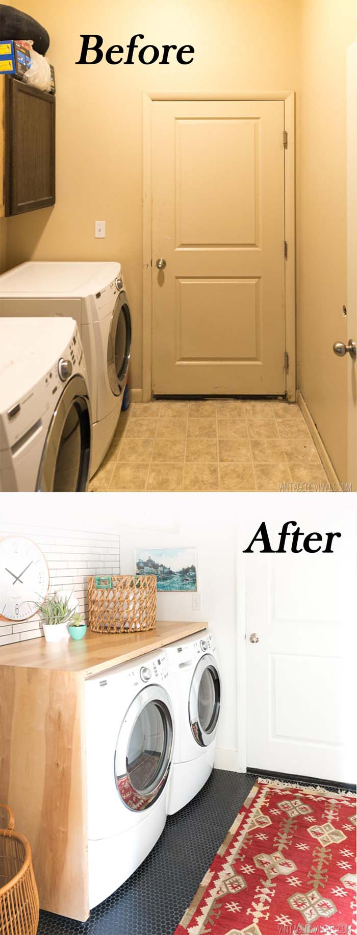 Cozier Working Space with Folding Counter #laundryroom #makeover #decorhomeideas