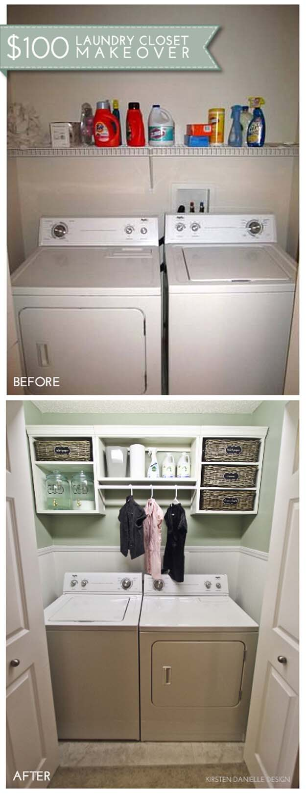 Cute and Compact with Storage Cubbies #laundryroom #makeover #decorhomeideas