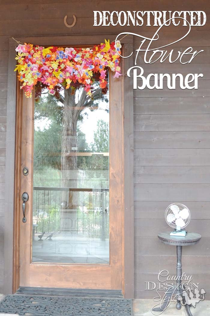 Deconstructed Flower Banner #outdoor #springdecor #decorhomeideas
