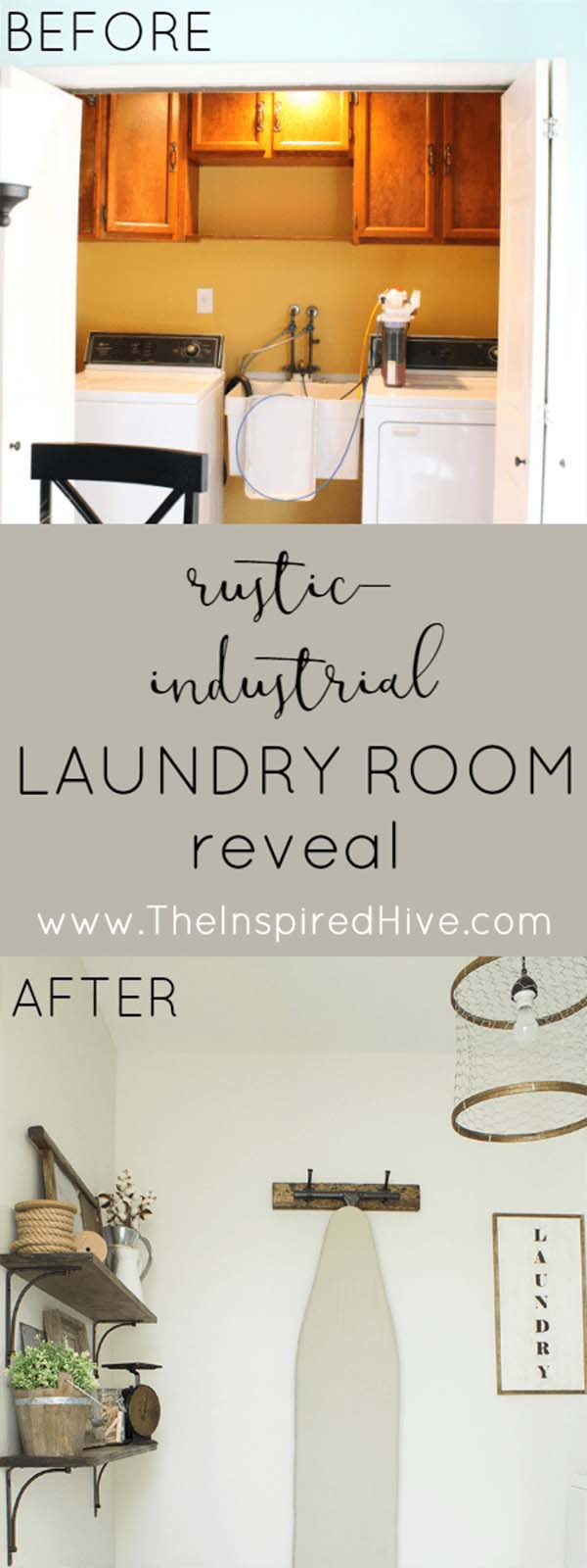 Drab and Dated to Fresh Farmhouse Look #laundryroom #makeover #decorhomeideas