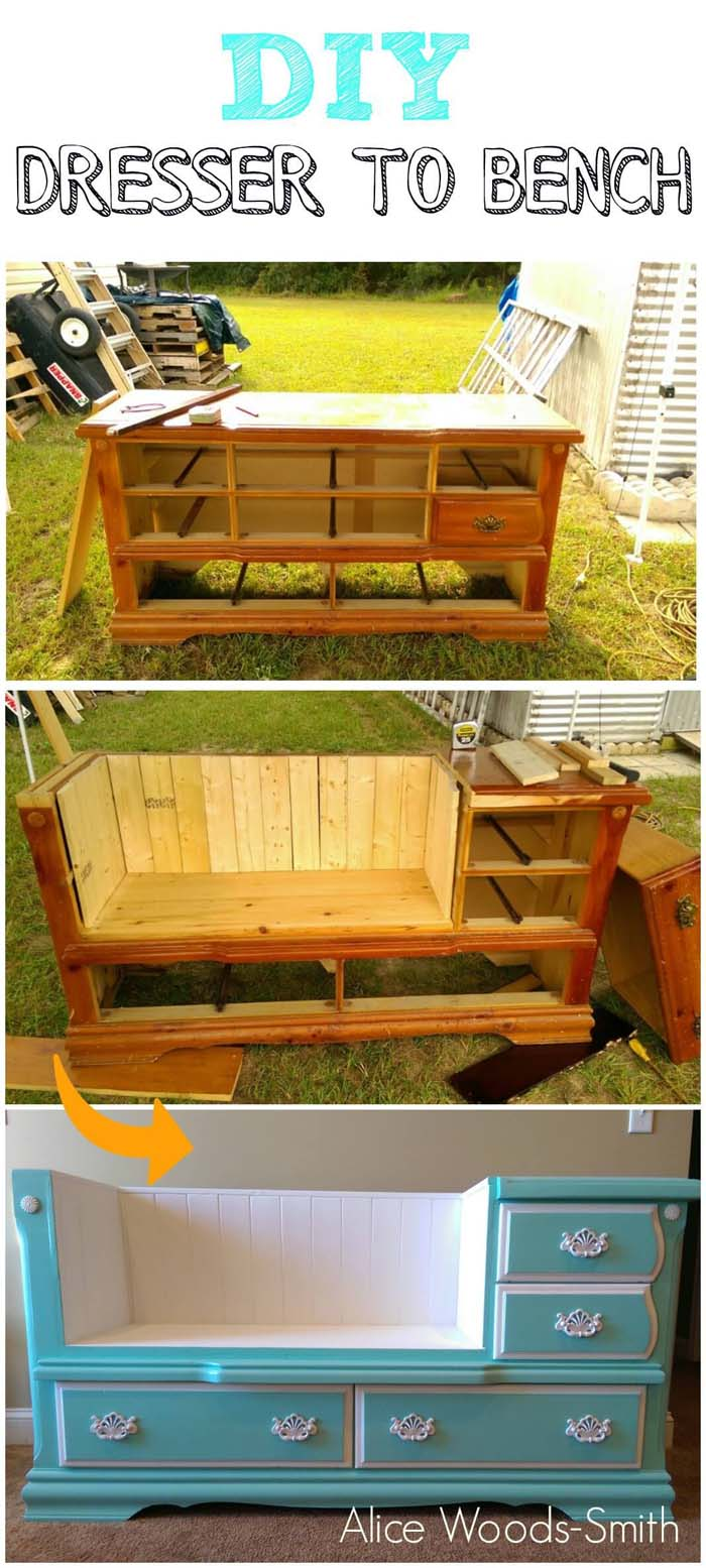 Dresser to Bench Project with Drawers #entrywaybench #diy #decorhomeideas