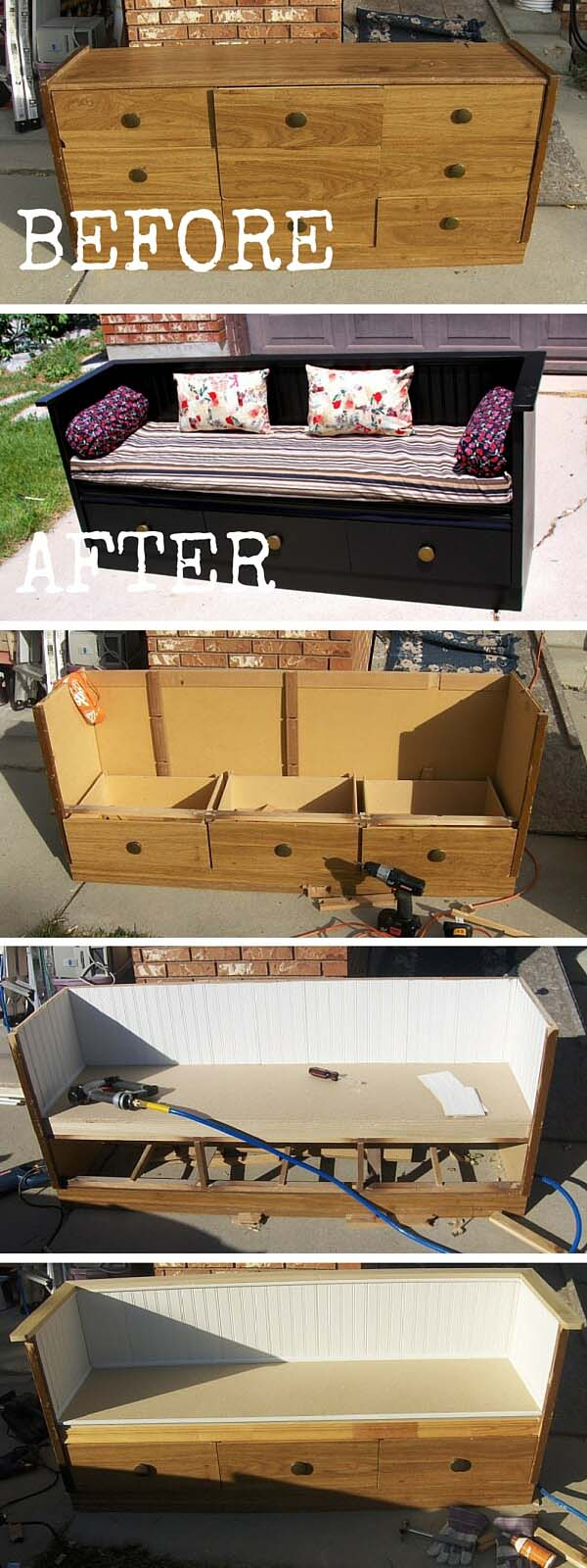 Dresser to Bench Project with Storage Drawers #entrywaybench #diy #decorhomeideas