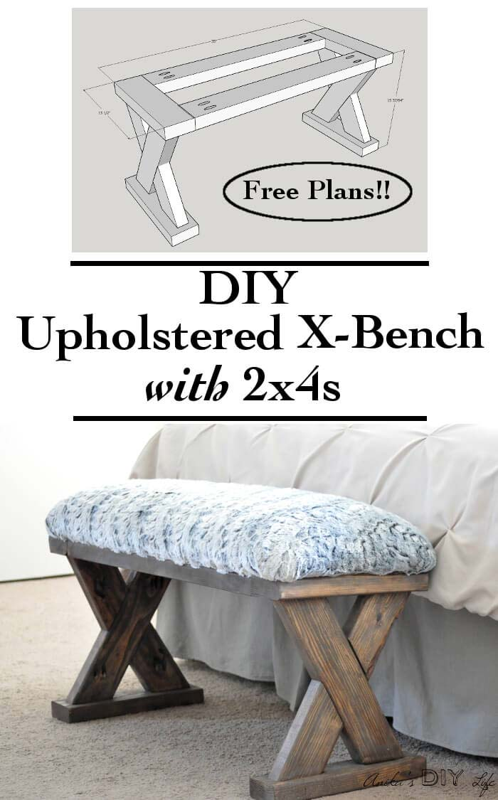 Easy Upholstered Wooden Bench #entrywaybench #diy #decorhomeideas