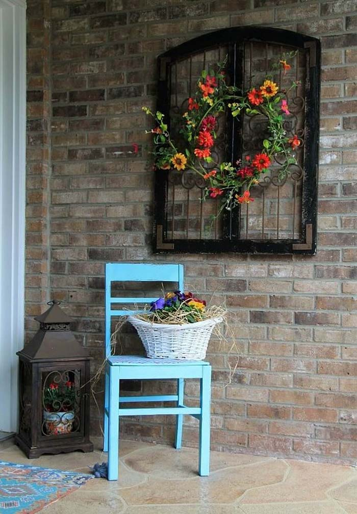 Elegant Upcycled Lead Window Accent #rustic #porch #vintage #decorhomeideas