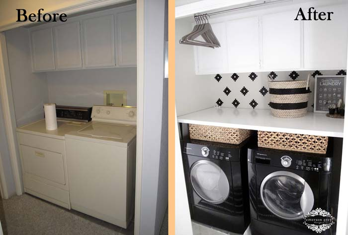 Folding Counter Easy Add-On #laundryroom #makeover #decorhomeideas
