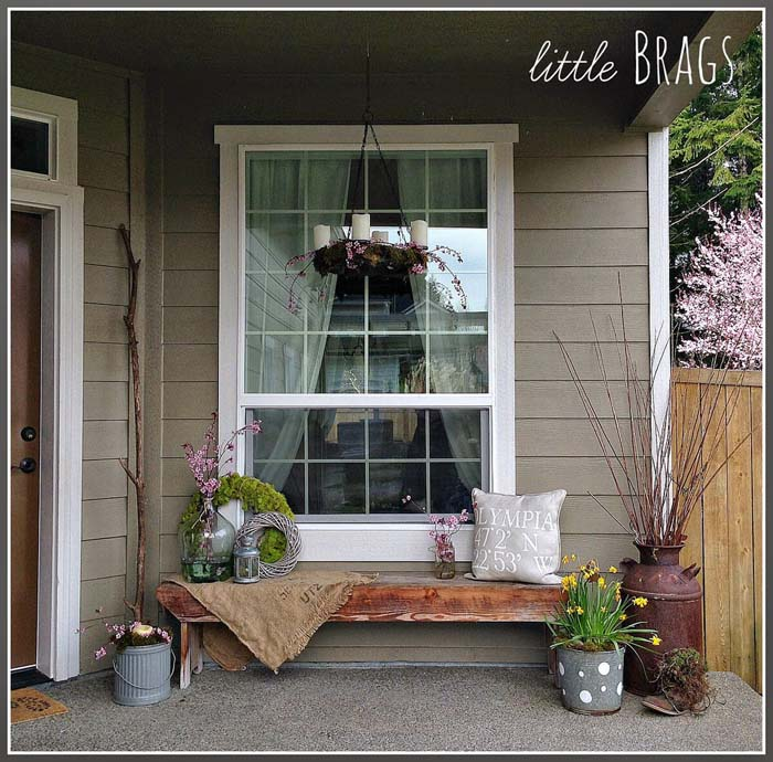 Galvanized Metal and Glass Planters, Organic Wreaths #rustic #springdecor #porch #decorhomeideas