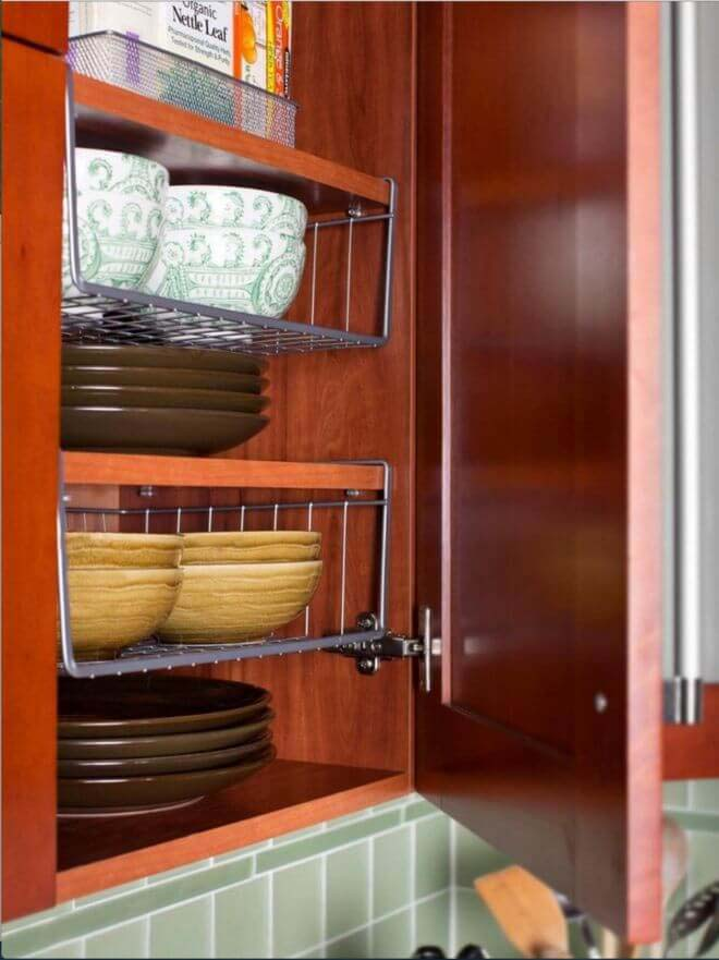 Hanging Shelves Double Cabinet Space #storage #organization #decorhomeideas