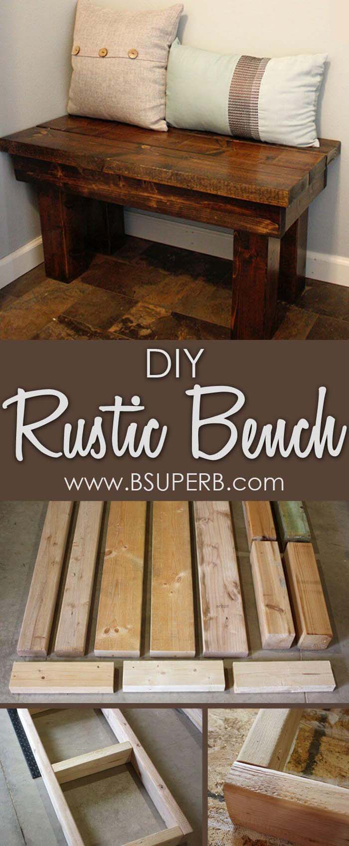 Inexpensive Rustic Wooden Bench Seat #entrywaybench #diy #decorhomeideas