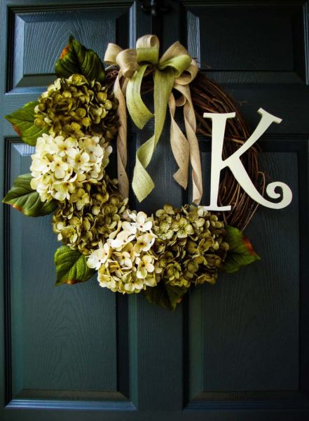 Initial Wreath With Twigs, Hydrangeas, and Ribbons #rustic #springdecor #porch #decorhomeideas