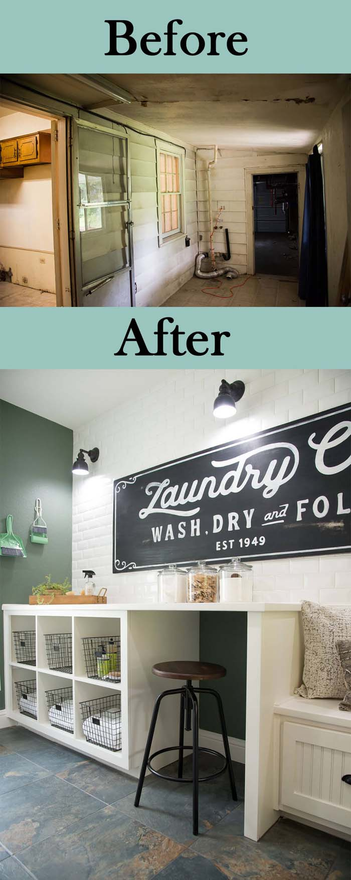 Large Space with a Touch of Retro Decor #laundryroom #makeover #decorhomeideas