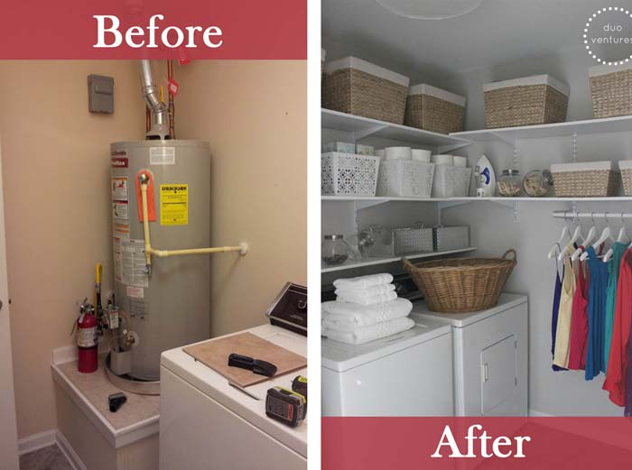 Laundry Closet with Extra Shelves and Hanging Space #laundryroom #makeover #decorhomeideas