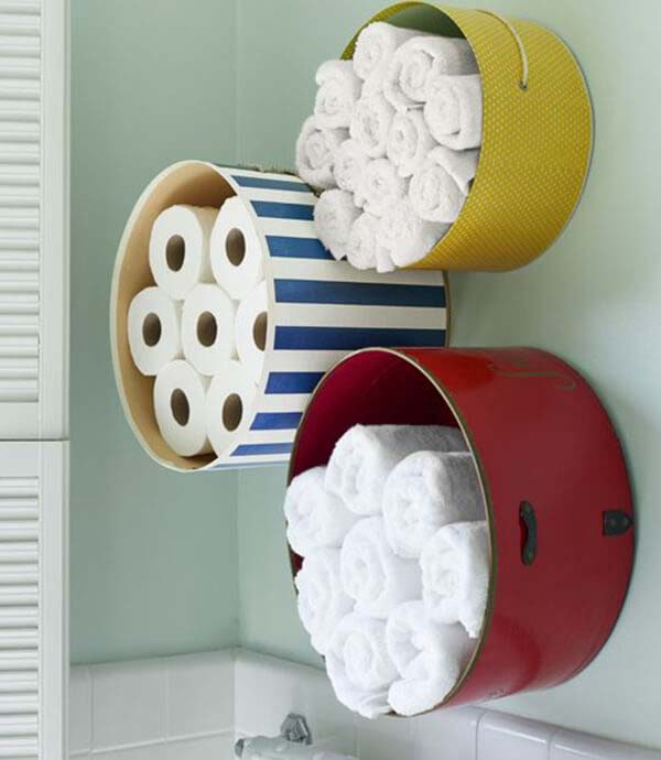Mount Colorful Hat Boxes for Bathroom Storage #storage #organization #decorhomeideas
