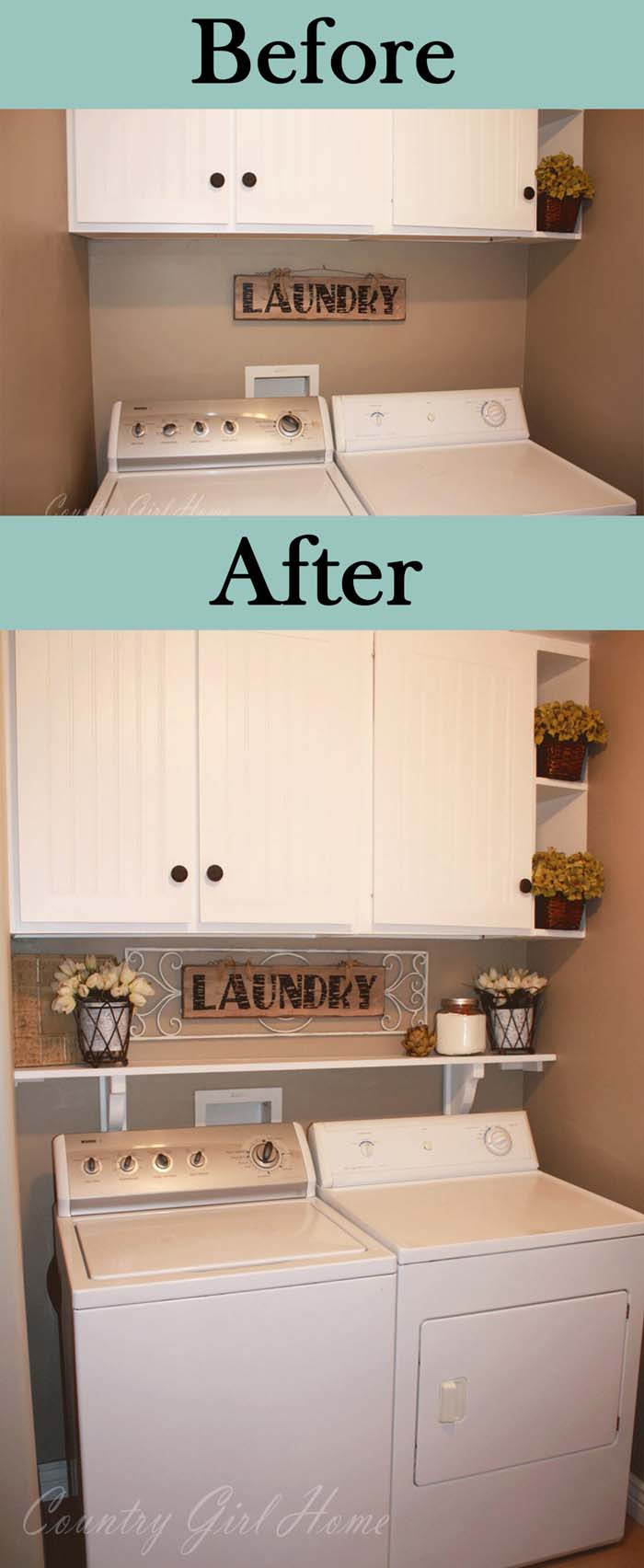 One Added Shelf can make All the Difference #laundryroom #makeover #decorhomeideas