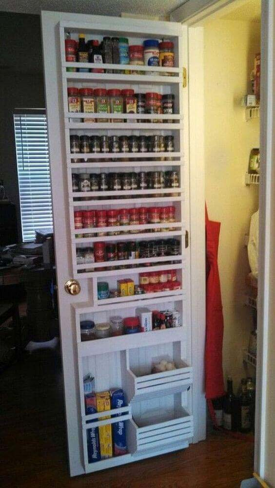 Pantry Door Transformed Into a Spice Rack #storage #organization #decorhomeideas