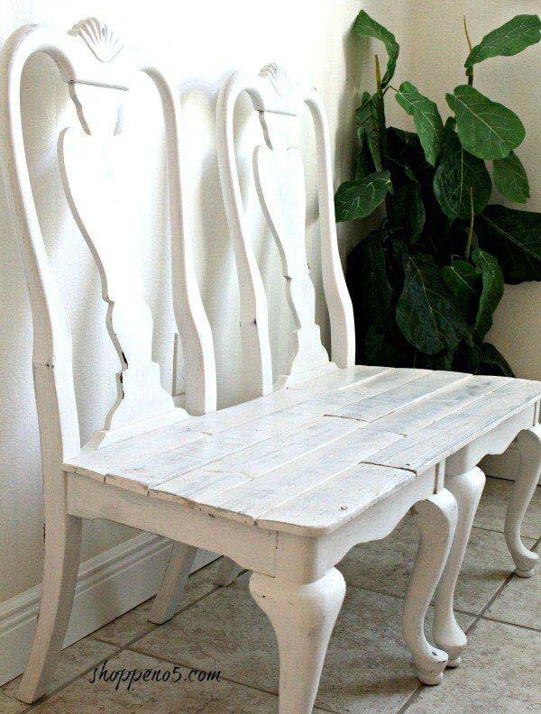 Recycled Shabby Chic Chair Bench #entrywaybench #diy #decorhomeideas